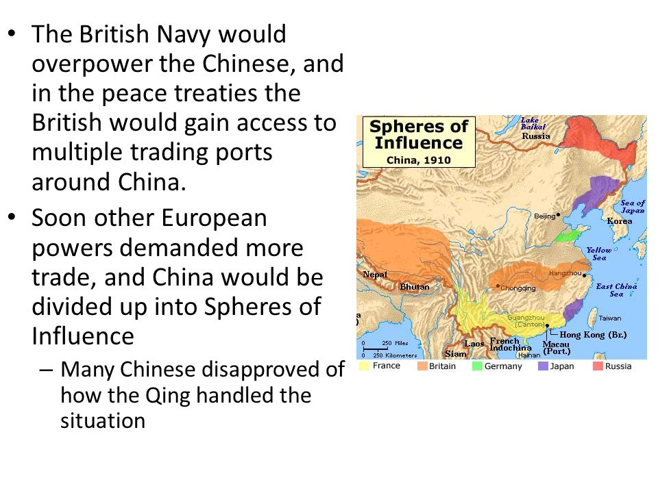 The British Navy would overpower the Chinese, and in the peace treaties the British would gain access to multiple trading ports around China.