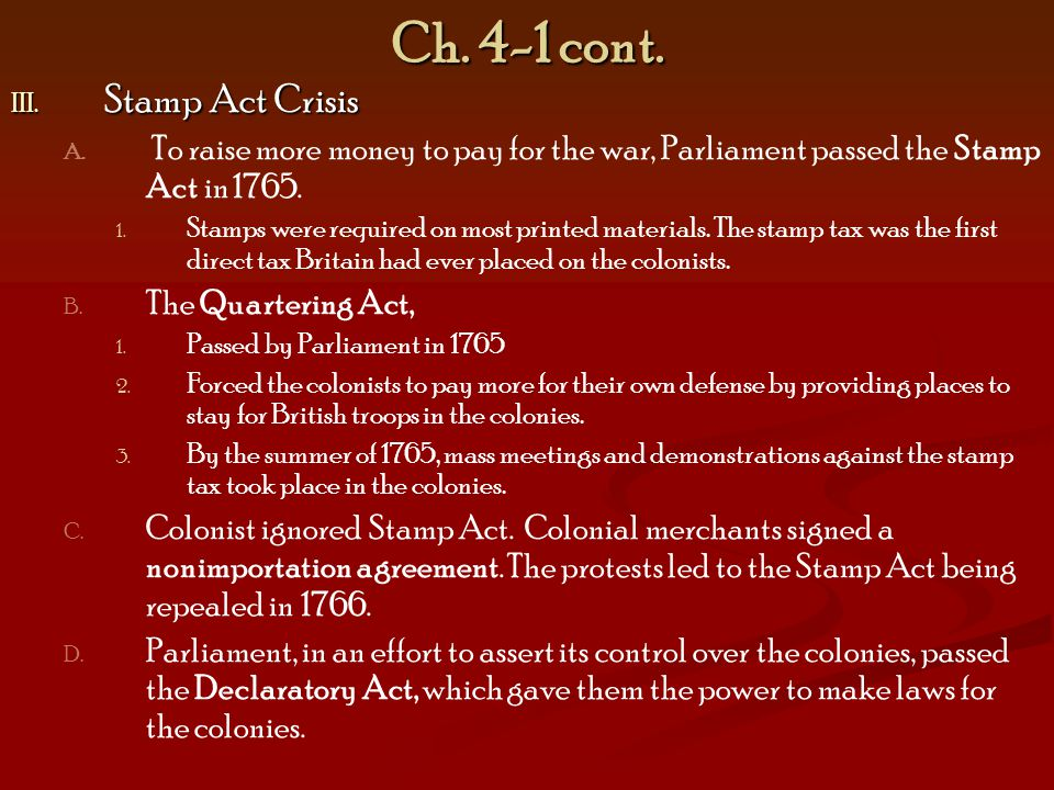 Ch. 4-1 cont. Stamp Act Crisis