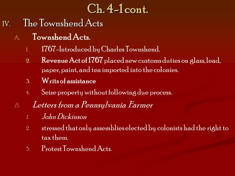 Ch. 4-1 cont. The Townshend Acts Townshend Acts.