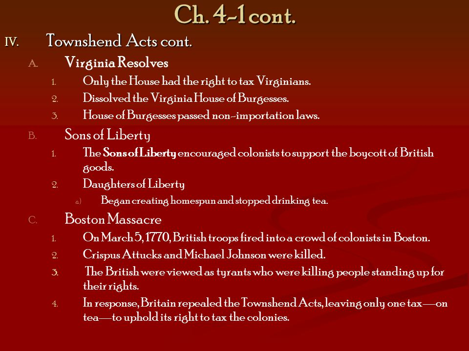Ch. 4-1 cont. Townshend Acts cont. Virginia Resolves Sons of Liberty