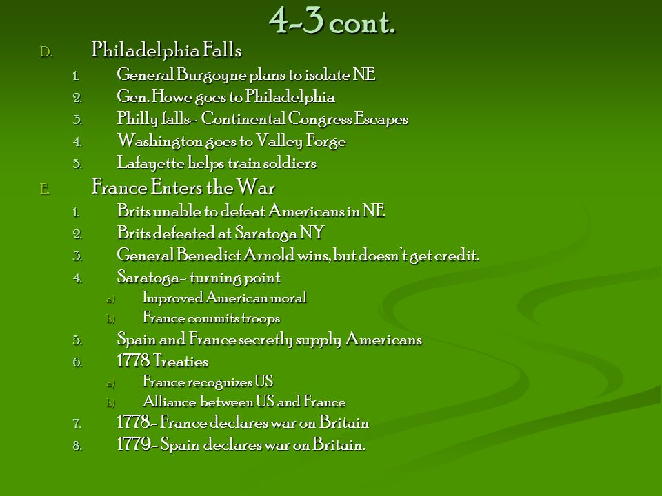 4-3 cont. Philadelphia Falls France Enters the War