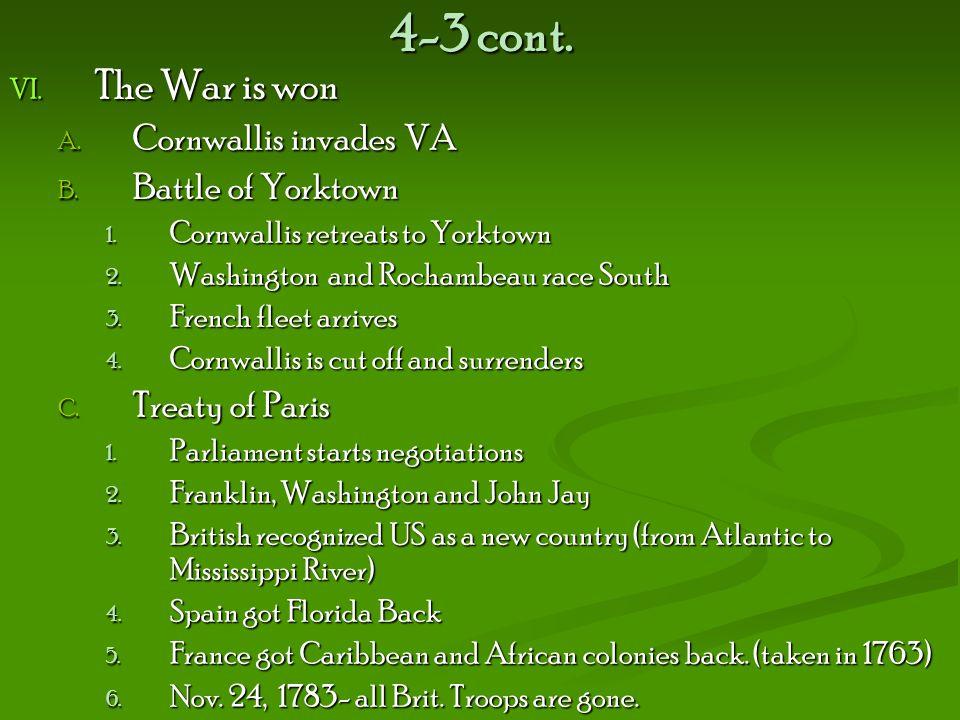 4-3 cont. The War is won Cornwallis invades VA Battle of Yorktown