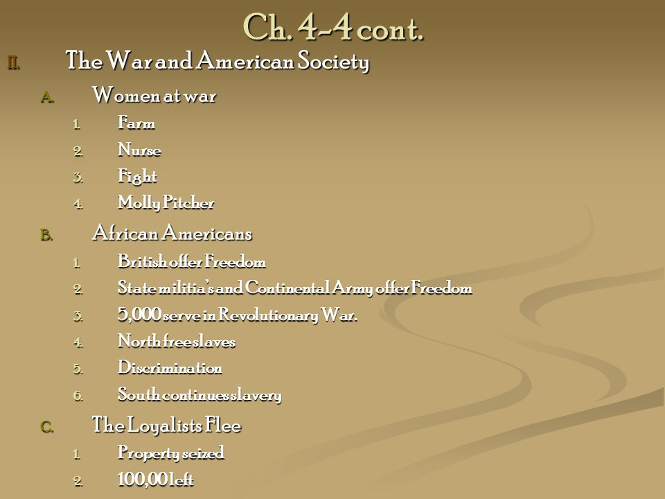 Ch. 4-4 cont. The War and American Society Women at war