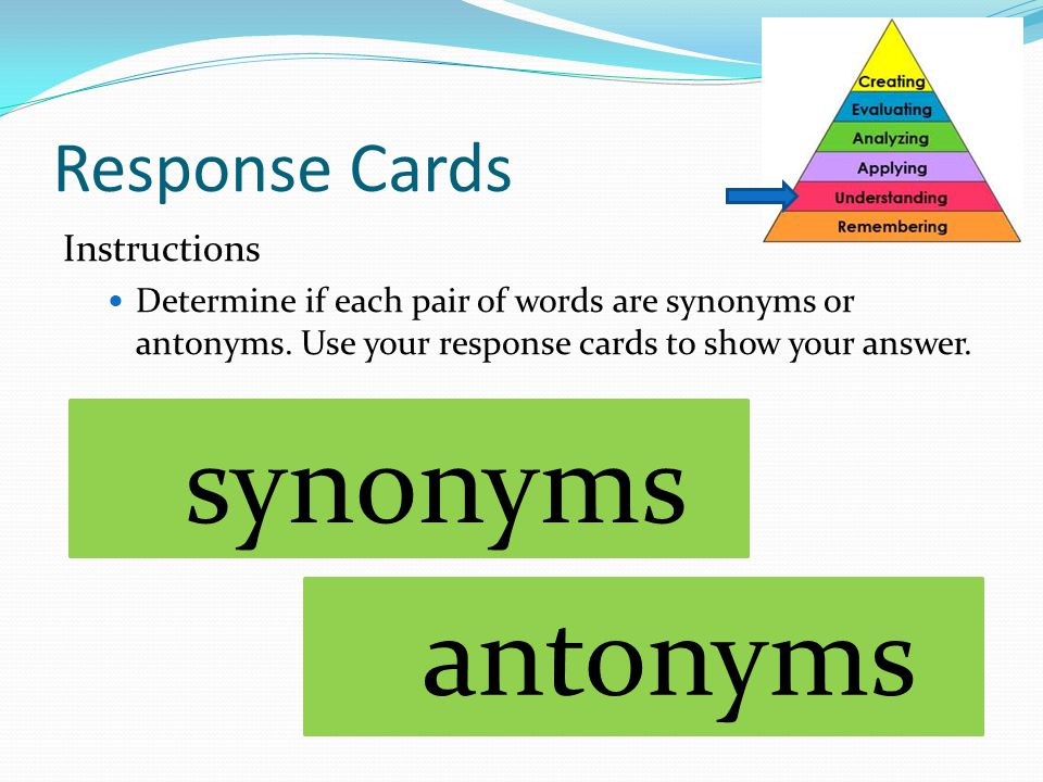 synonyms antonyms Response Cards Instructions