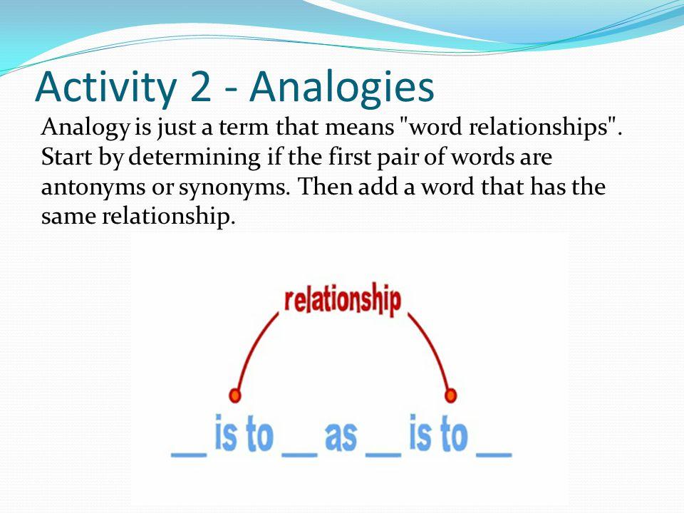 Activity 2 - Analogies