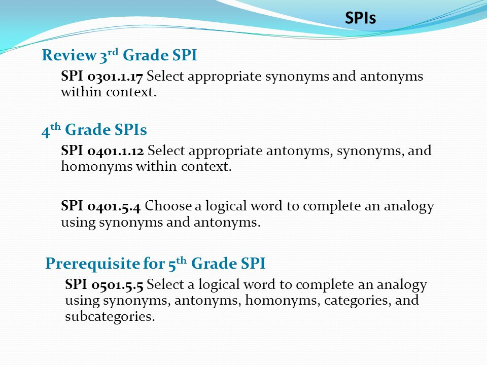 SPIs Review 3rd Grade SPI 4th Grade SPIs