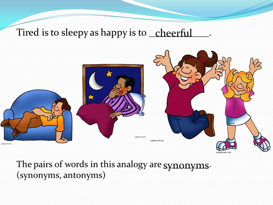 cheerful synonyms Tired is to sleepy as happy is to ____________.