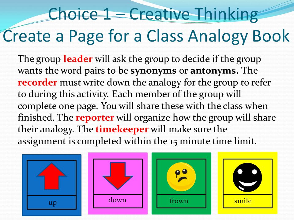 Choice 1 – Creative Thinking Create a Page for a Class Analogy Book