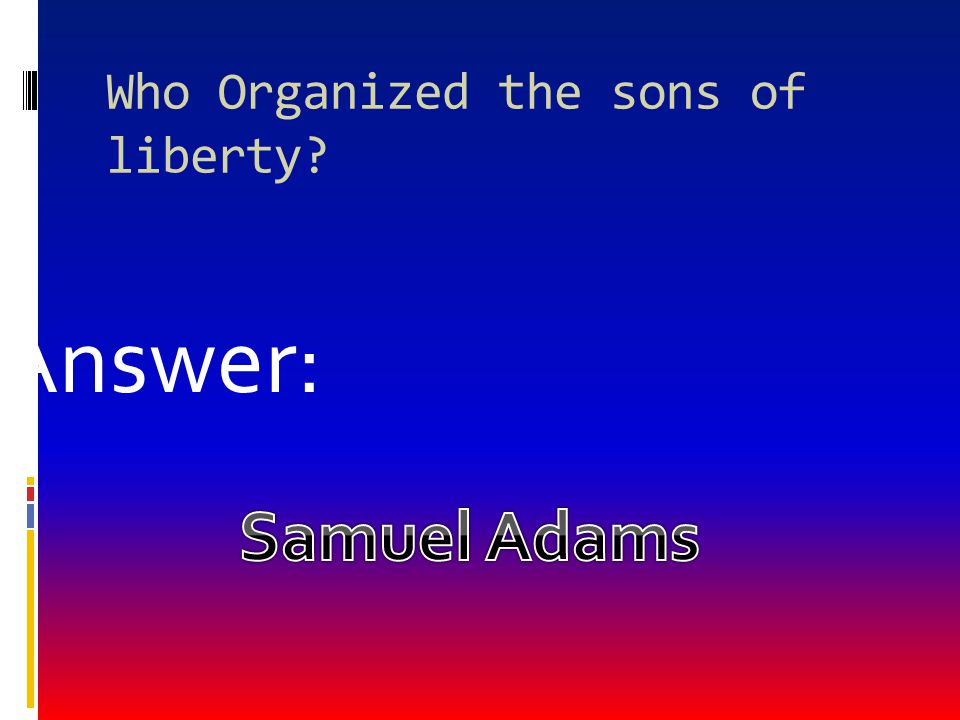 Who Organized the sons of liberty