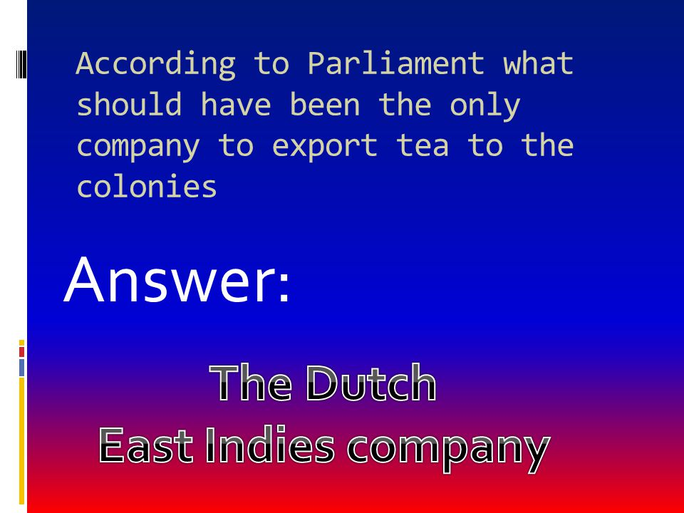 Answer: The Dutch East Indies company