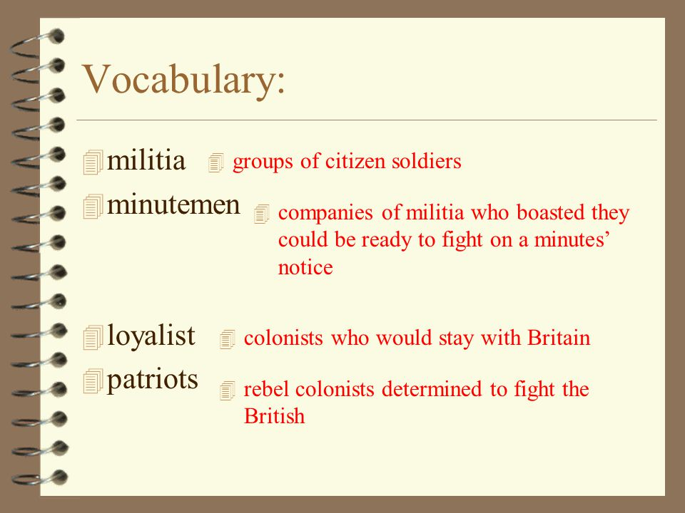 Vocabulary: militia minutemen loyalist patriots