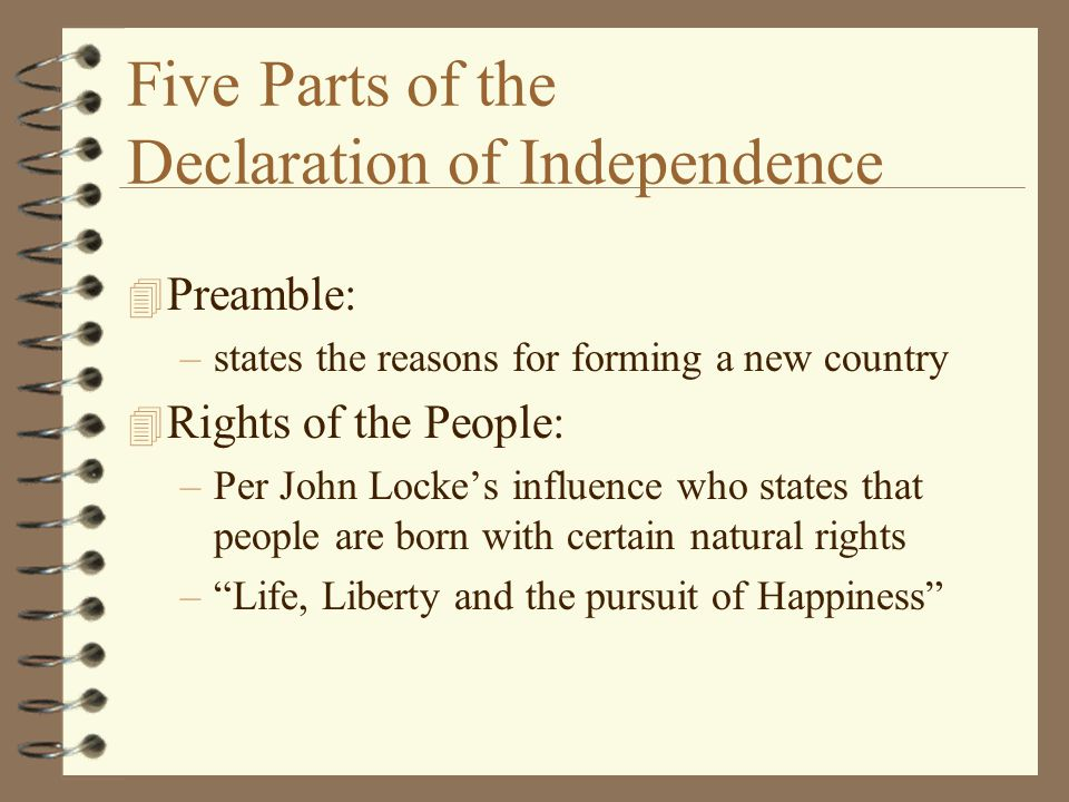 Five Parts of the Declaration of Independence