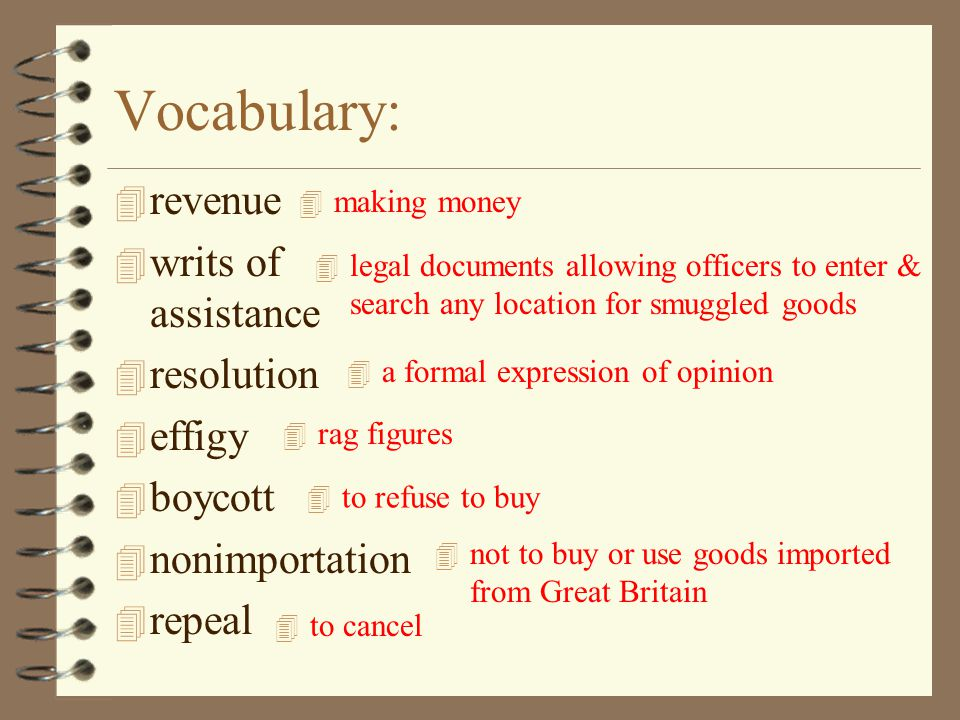 Vocabulary: revenue writs of assistance resolution effigy boycott