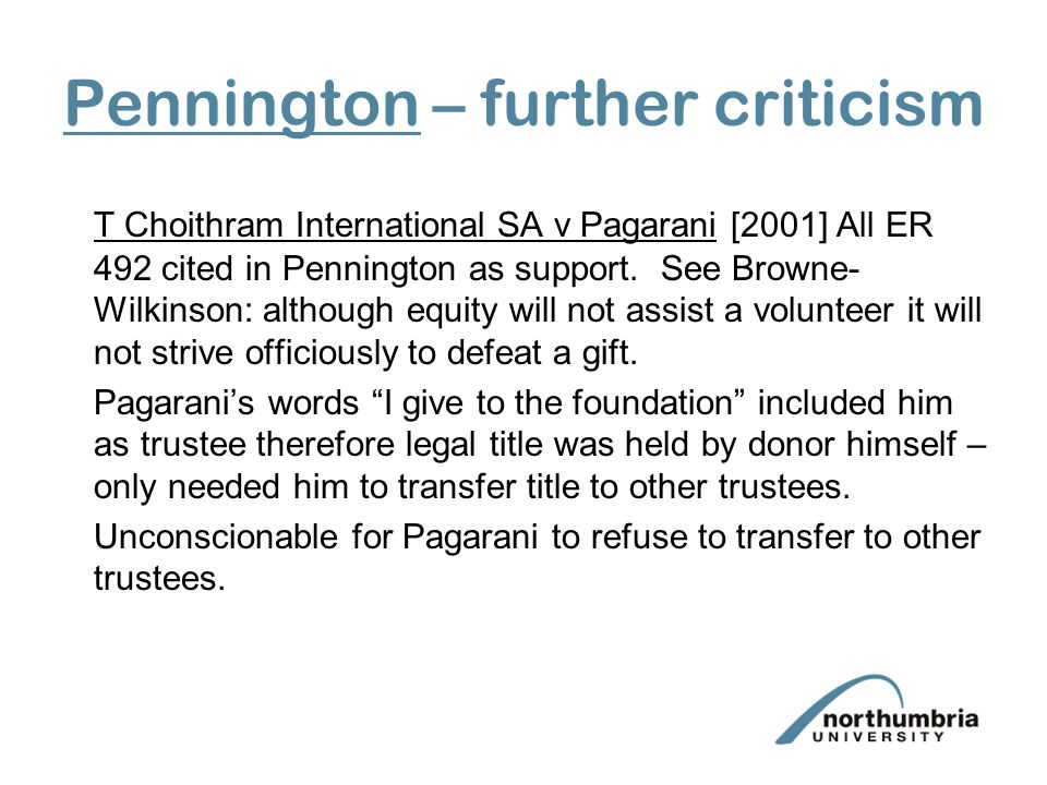 Pennington – further criticism