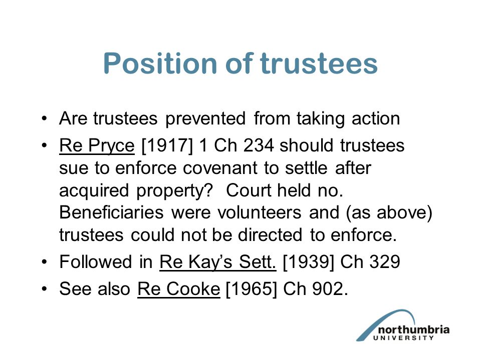 Position of trustees Are trustees prevented from taking action