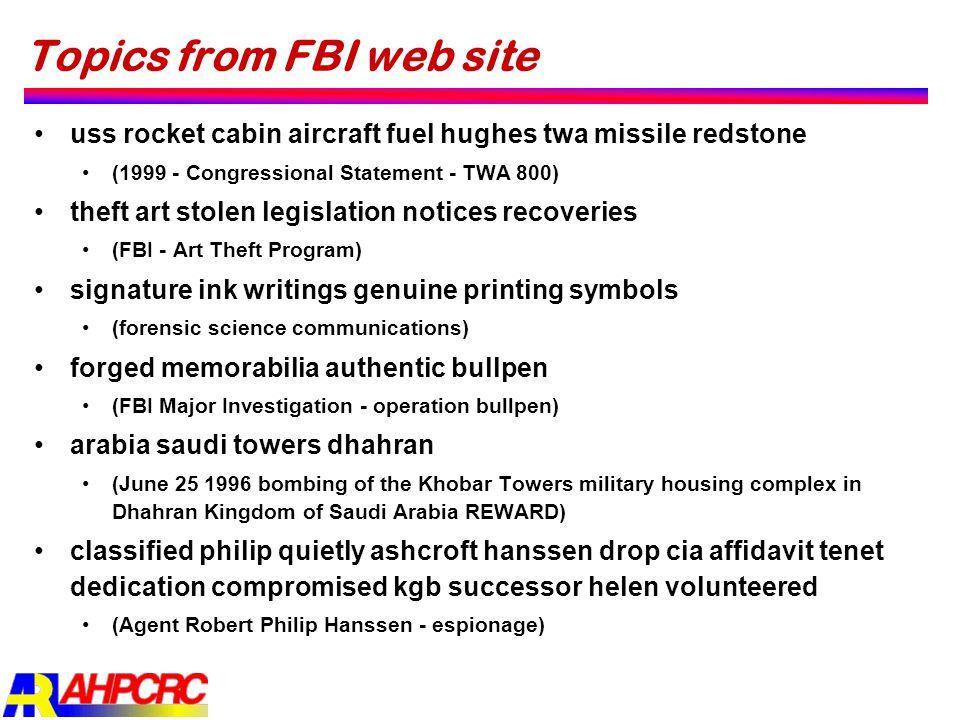 Topics from FBI web site