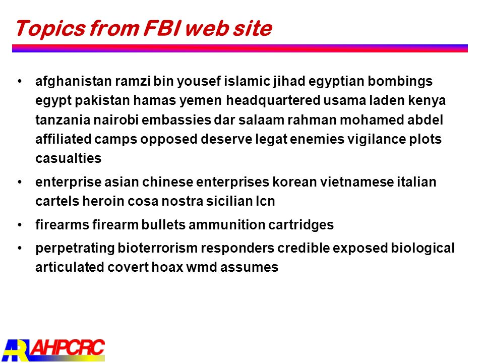 Topics from FBI web site