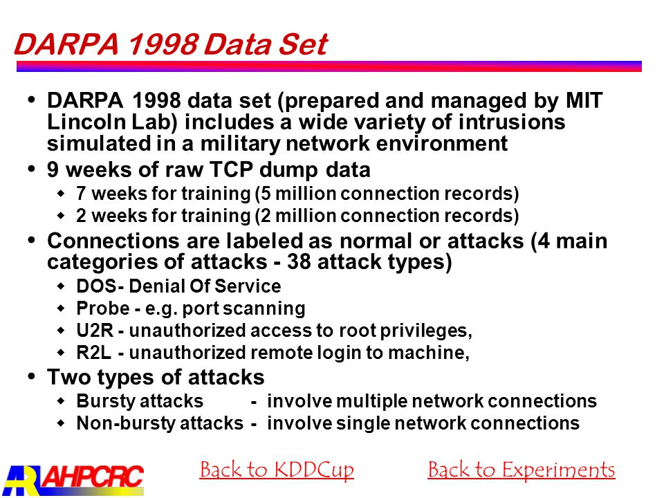DARPA 1998 Data Set