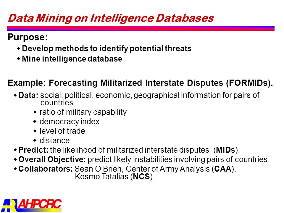 Data Mining on Intelligence Databases