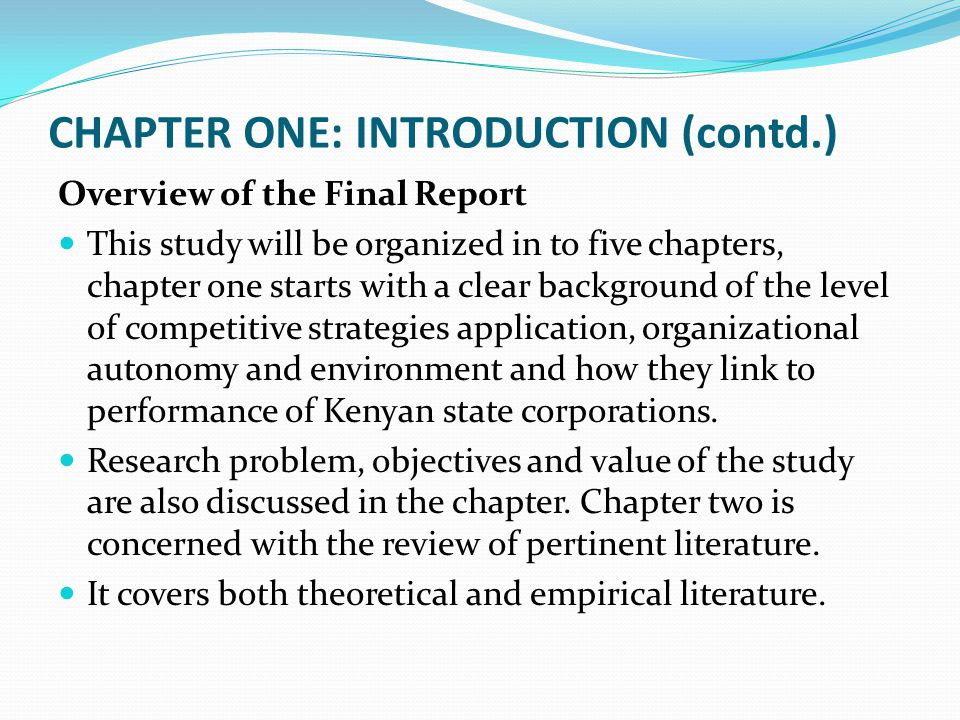 CHAPTER ONE: INTRODUCTION (contd.)