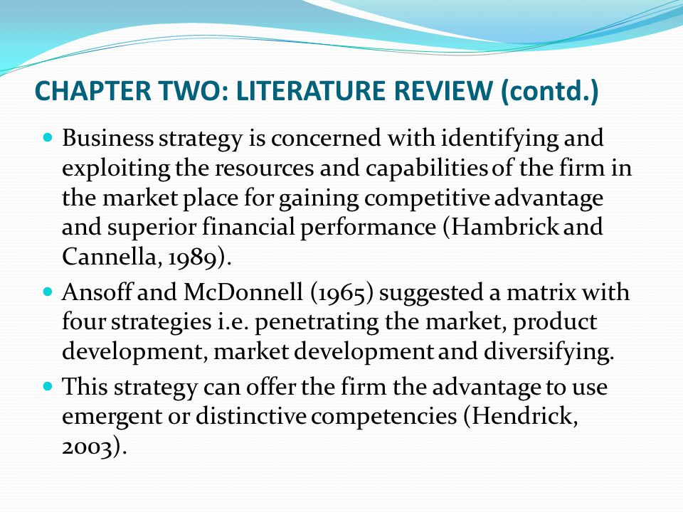 chapter 2 of thesis review of related literature and studies Chapter 2 review of related literature and studies for further understanding of the study, the researchers made use of different reading materials.