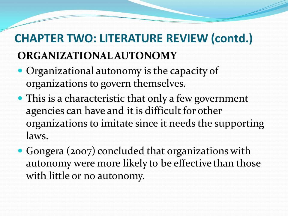 CHAPTER TWO: LITERATURE REVIEW (contd.)