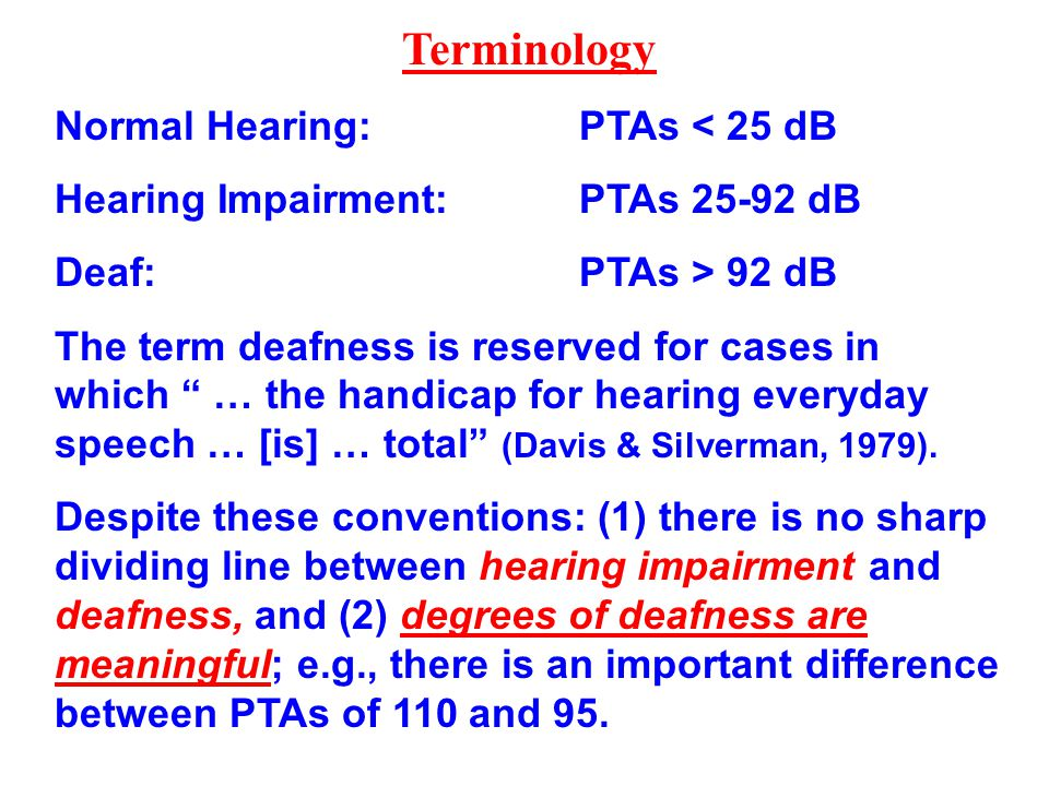 Terminology Normal Hearing: PTAs < 25 dB