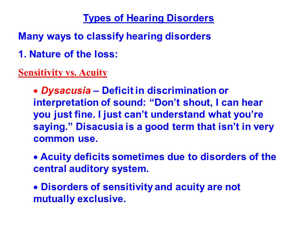 Types of Hearing Disorders