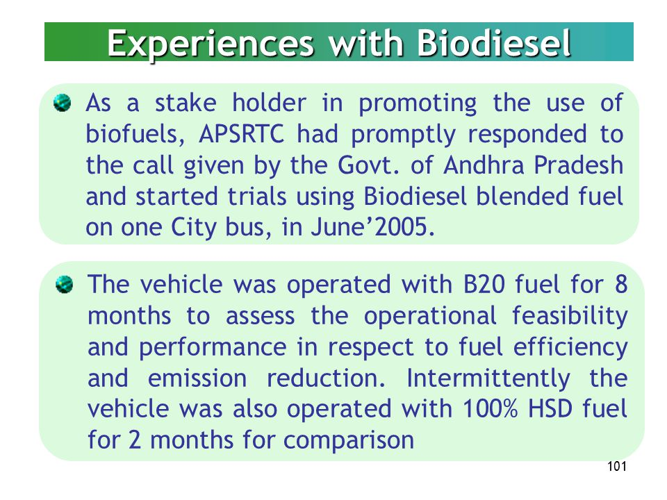 Experiences with Biodiesel
