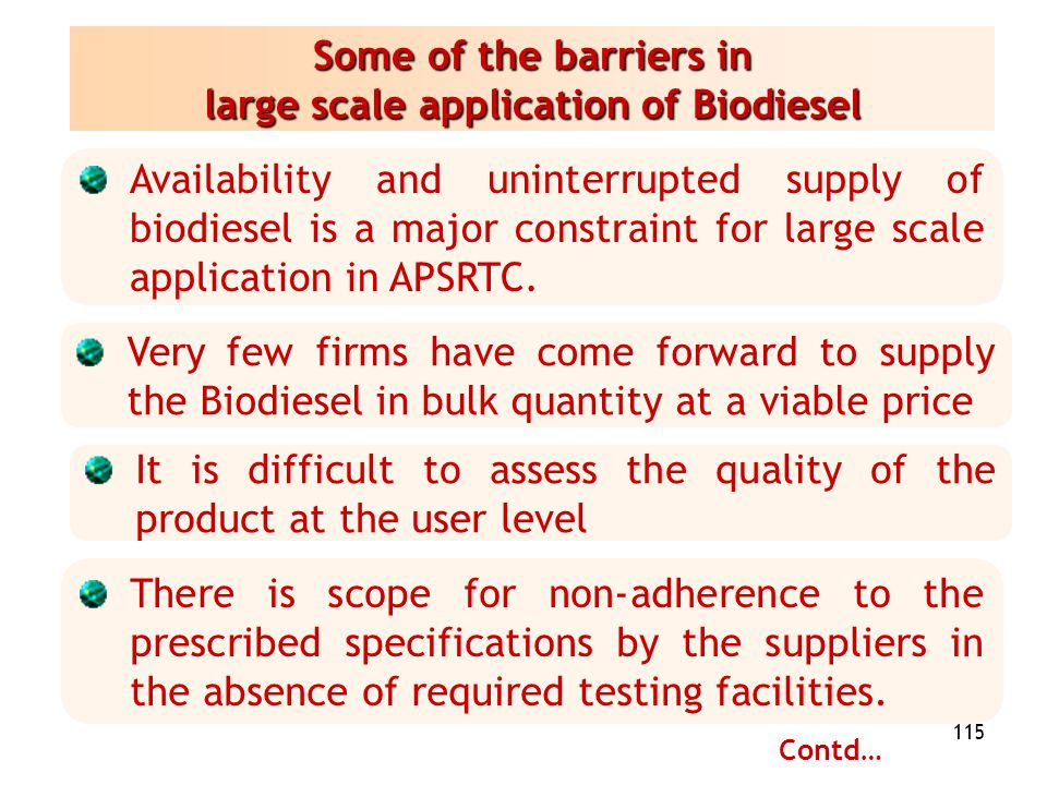 Some of the barriers in large scale application of Biodiesel
