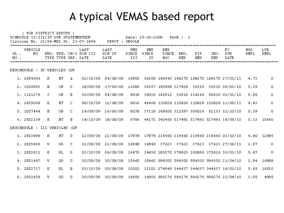 A typical VEMAS based report