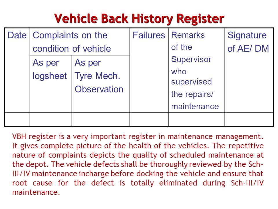 Vehicle Back History Register