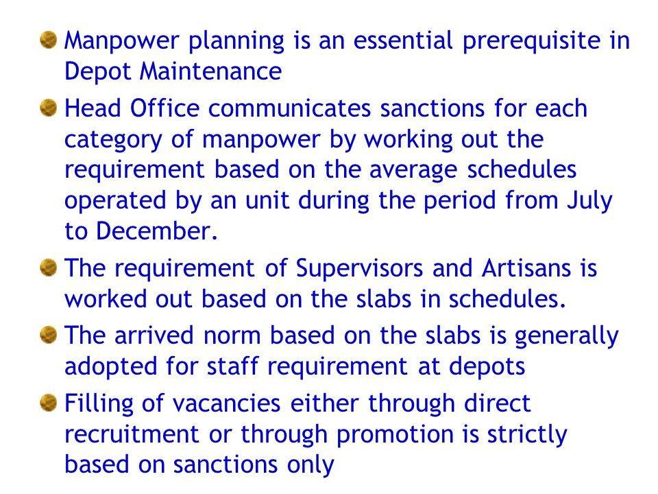 Manpower planning is an essential prerequisite in Depot Maintenance