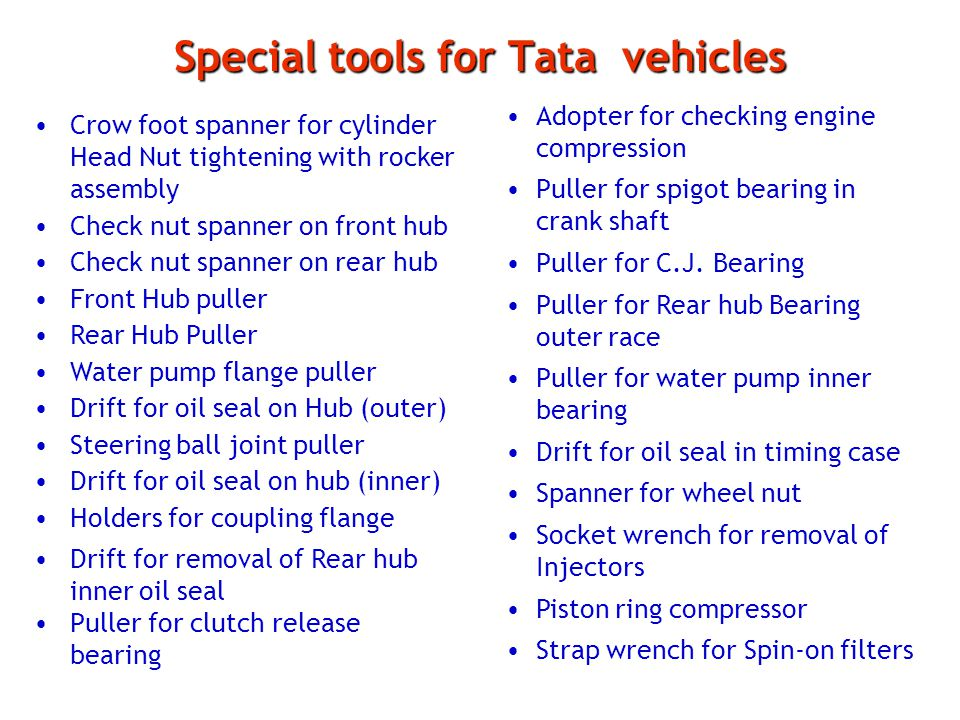 Special tools for Tata vehicles