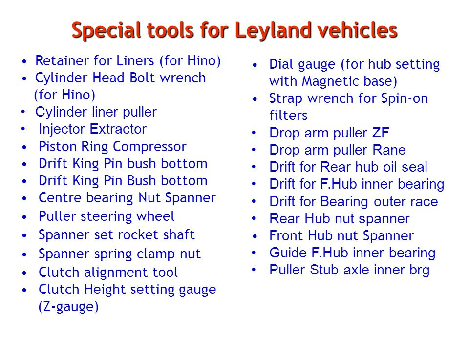 Special tools for Leyland vehicles