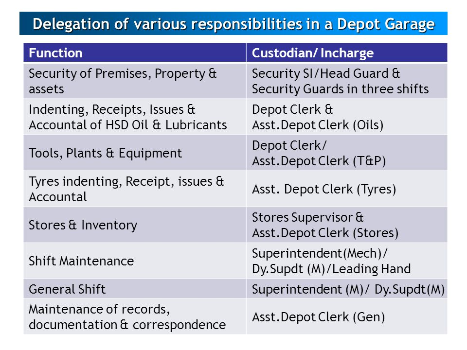 Delegation of various responsibilities in a Depot Garage