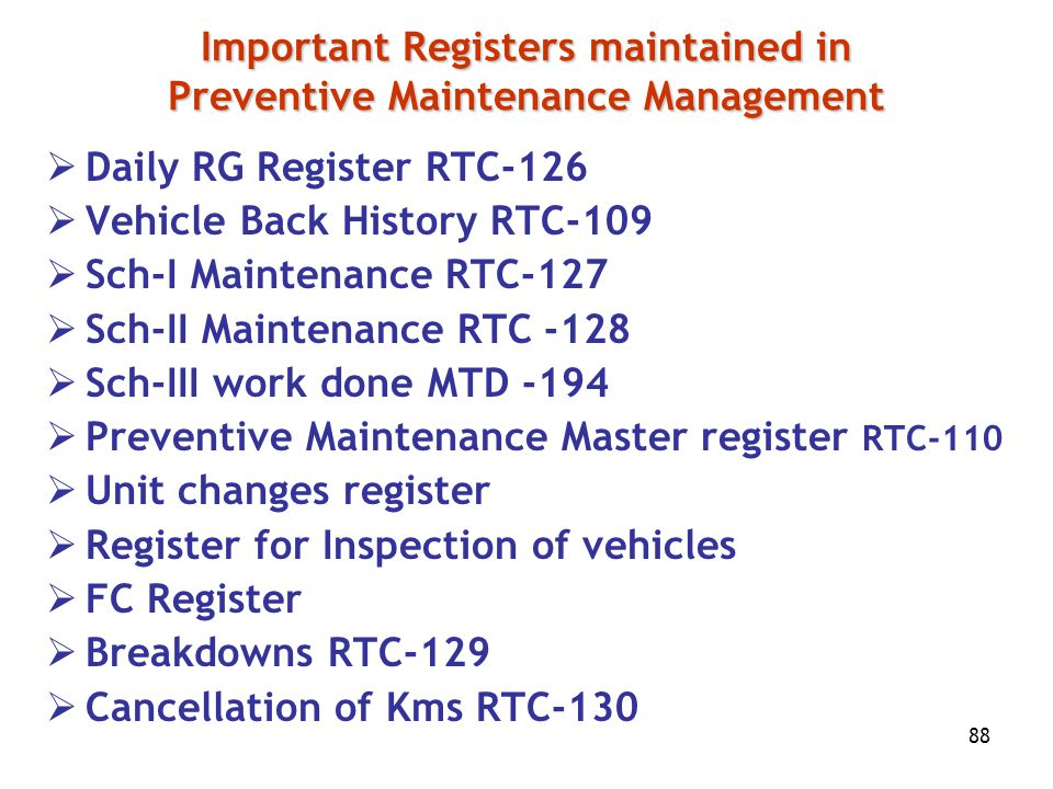 Important Registers maintained in Preventive Maintenance Management