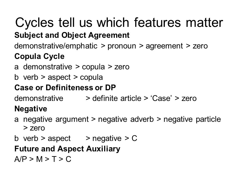 Cycles tell us which features matter