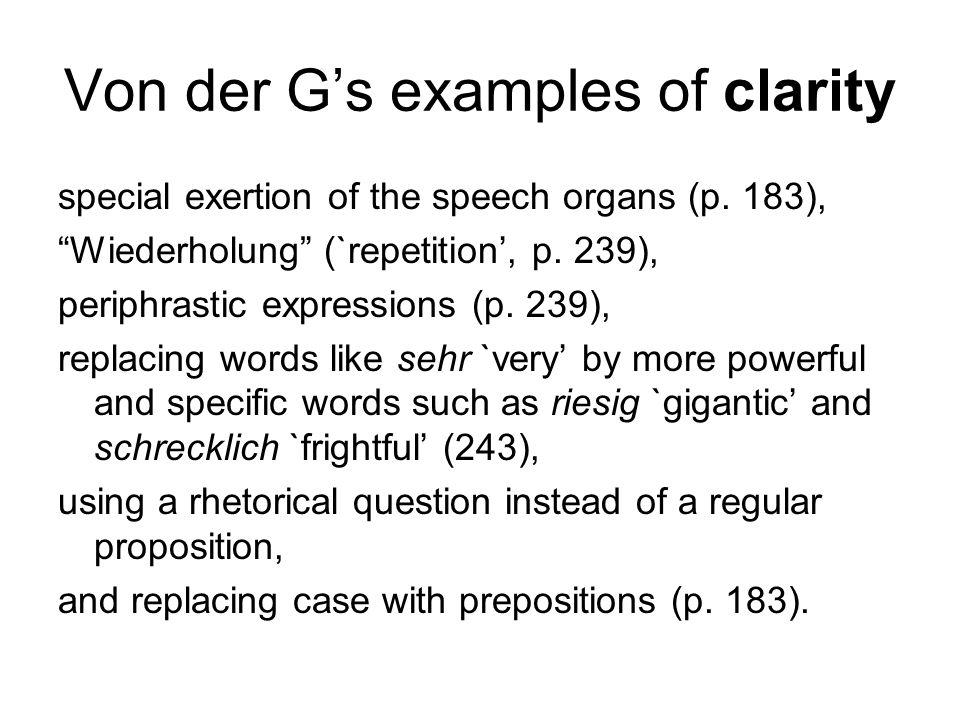 Von der G's examples of clarity