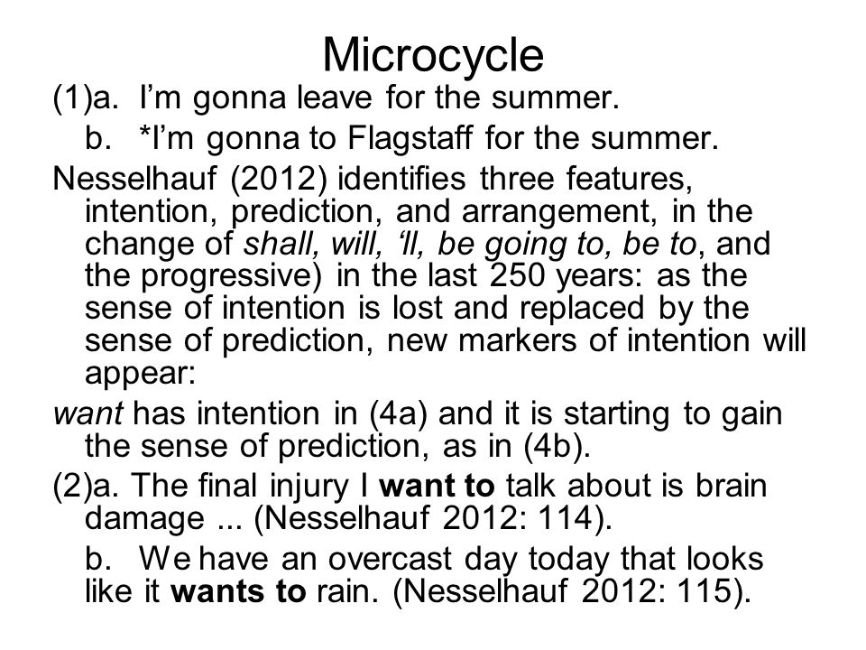 Microcycle (1)a. I'm gonna leave for the summer.