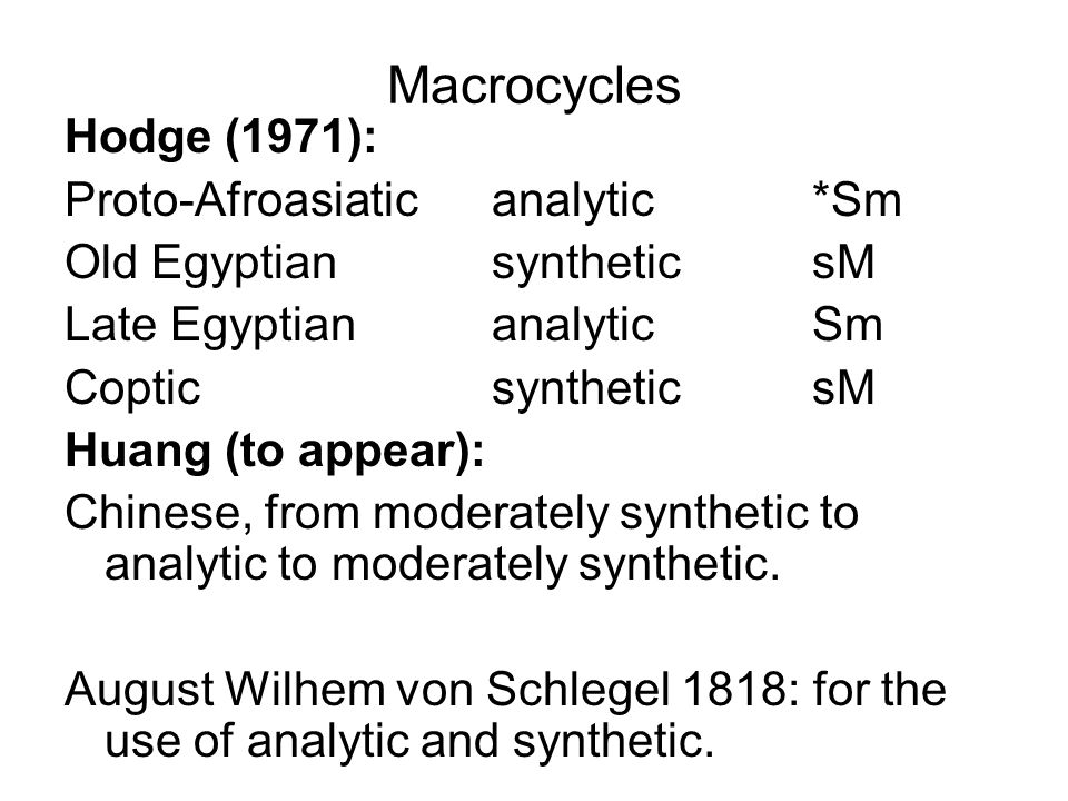 Macrocycles Hodge (1971): Proto-Afroasiatic analytic *Sm
