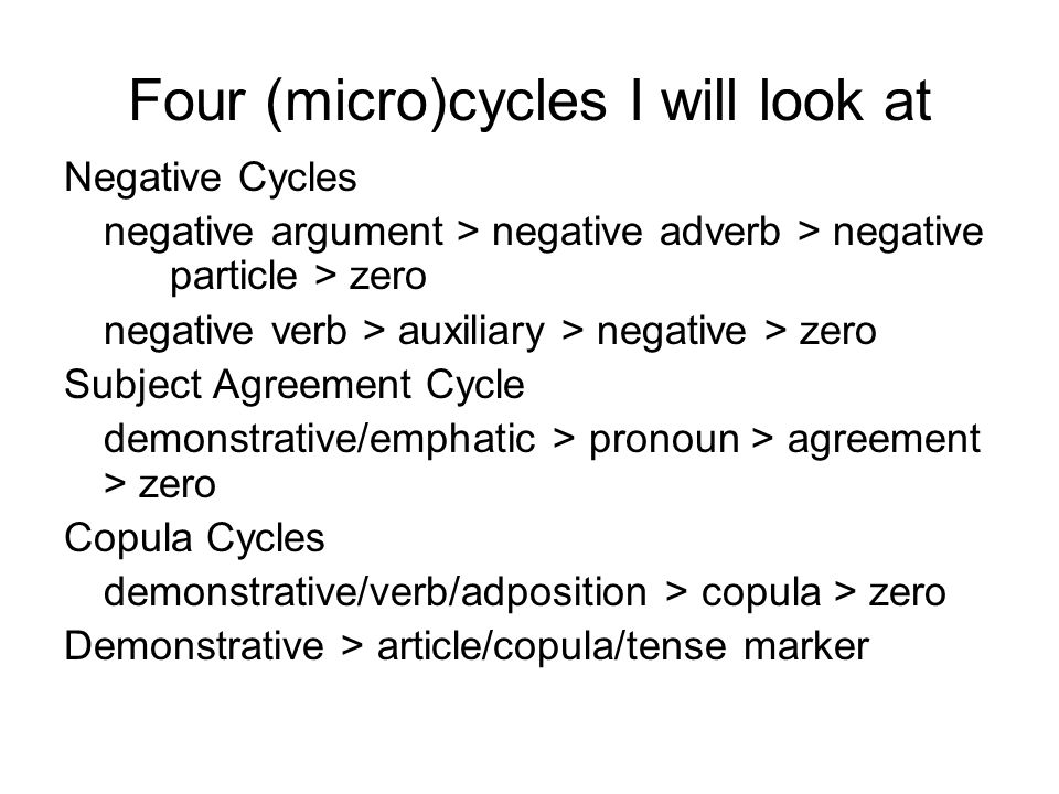 Four (micro)cycles I will look at