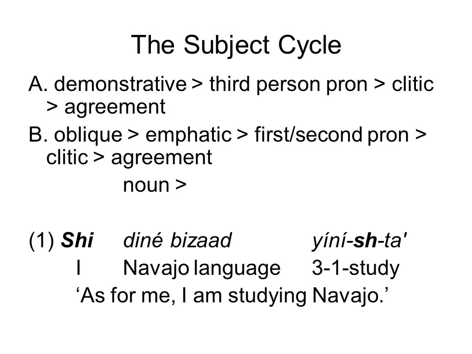 The Subject Cycle A. demonstrative > third person pron > clitic > agreement. B. oblique > emphatic > first/second pron > clitic > agreement.