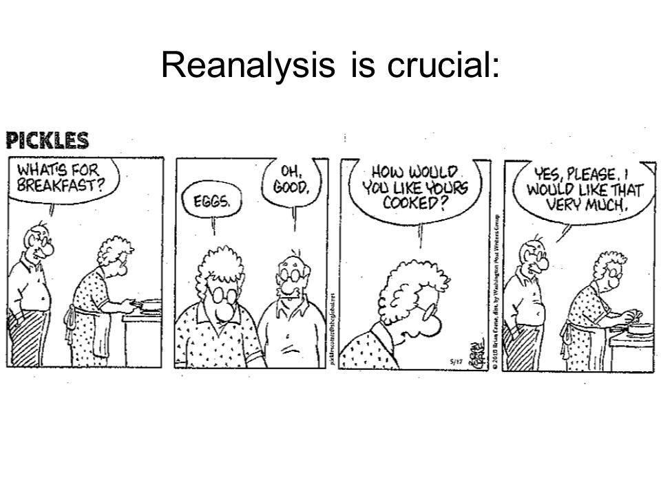 Reanalysis is crucial: