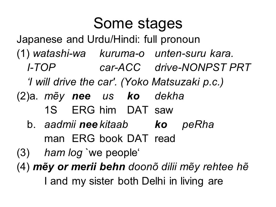 Some stages Japanese and Urdu/Hindi: full pronoun