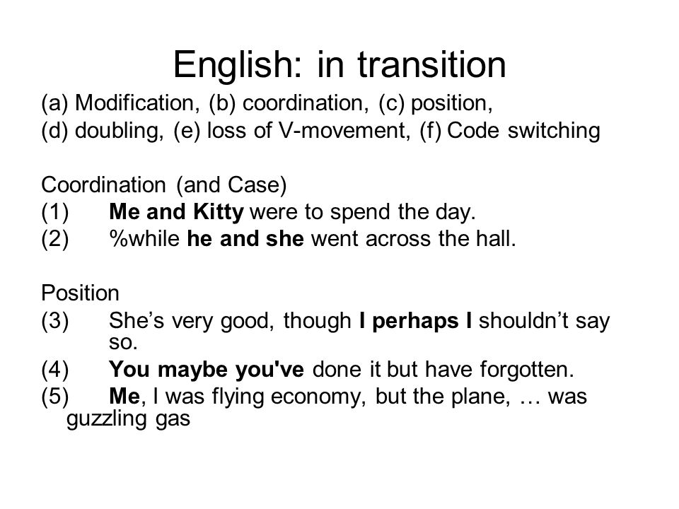 English: in transition