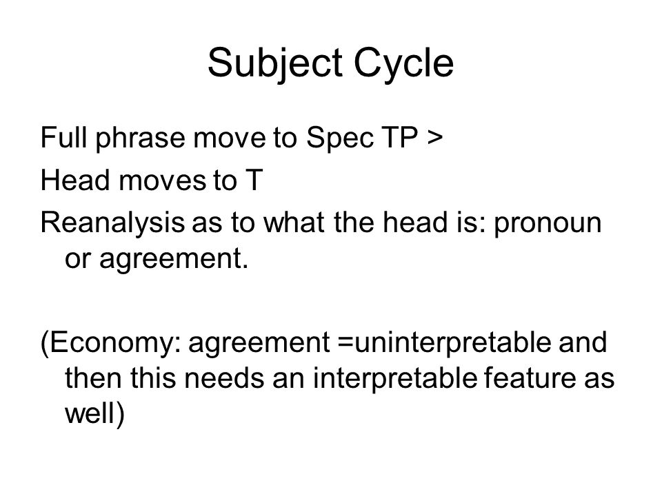 Subject Cycle Full phrase move to Spec TP > Head moves to T