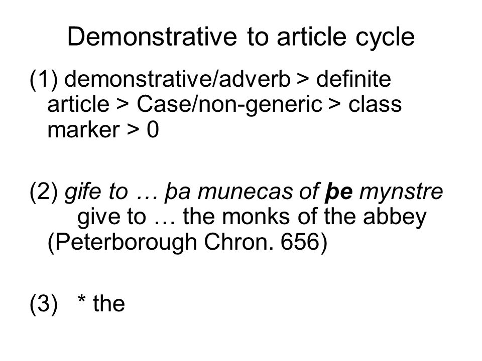 Demonstrative to article cycle