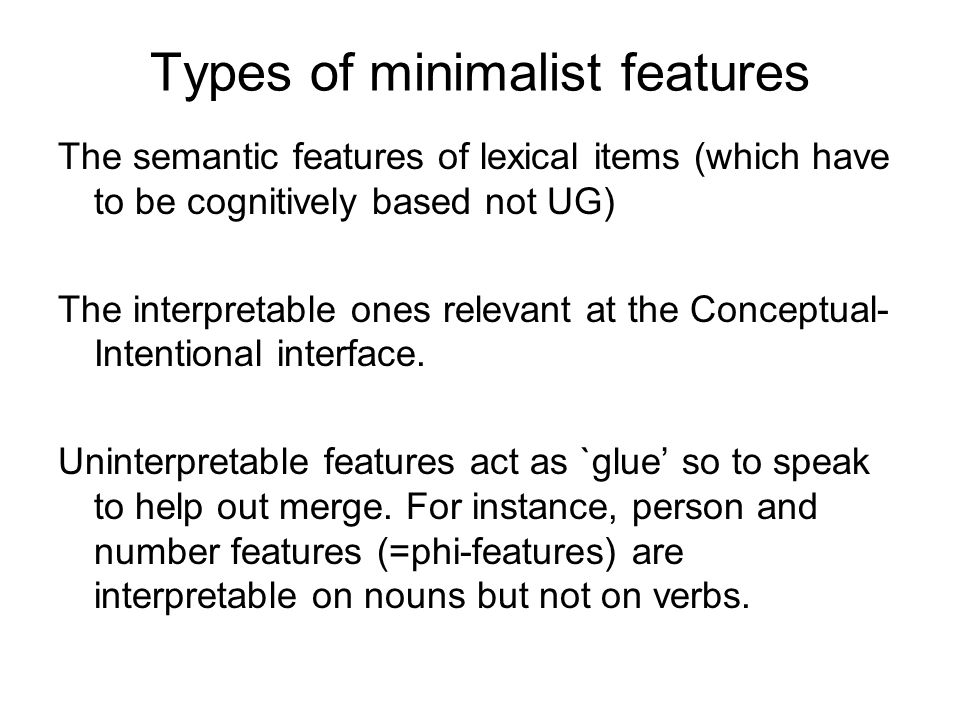 Types of minimalist features