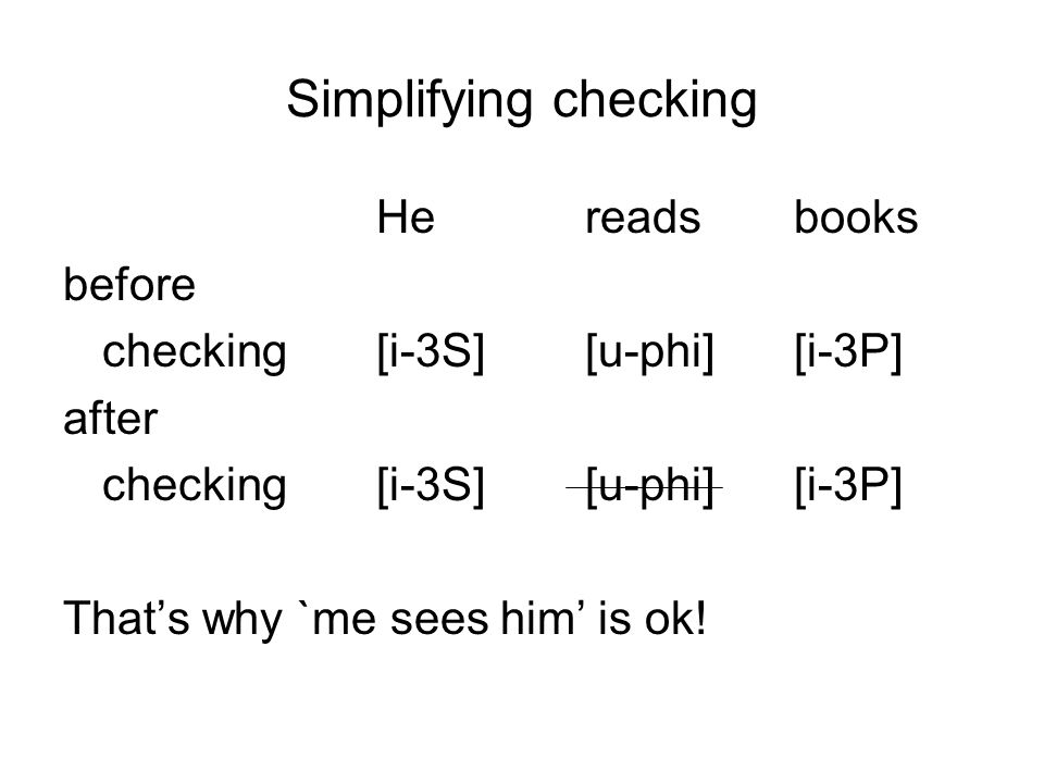 Simplifying checking He reads books before